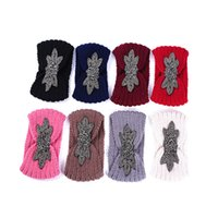 Wool Elastic Wide Knitted Headband Fashion Boho Rhinestone Winter Warm Crochet Head Wrap Hairbands Women Hair Accessories