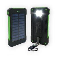 도매 20000mAh 태양 전원 은행 방수 휴대 전화 듀얼 USB 포트 충전기 외부 백업 배터리 Xiaomi Samsung에 대 한 소매 상자