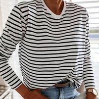 Mulheres Polos Moda Moda Preto e Branco Blusa Listrado Camisa Casual Manga Longa O-Pescoço Macio Senhoras Coreanas T-shirt Primavera 2021