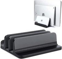 Soporte de computadora portátil vertical Doble vertical Soporte de escritorio ajustable Soporte para portátil con muelle ajustable Compatible con MacBook, Microsoft Superficie