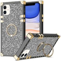 Luxury Bling Diamond Square Ring Stand Cases For Iphone 13 12 11 Pro Max XR XS Samsung Galaxy S21 S20 Plus A10S A20S A12 A22 A11 Designer Phone Case