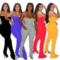 Gestapelte Frauen Jumpsuits Falten Spaghetti Strap Damen Strampler Sleeveless Party Club Frau Outfits Beiläufige schlanke weibliche Kleidung