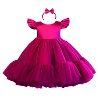 Girls Dresses Children Clothing Kids Clothes 1st Birthday Dress For Baby Girl Princess Wear Tutu Lace Christmas Sequin Bows Headbands 2Pcs Sets Party B8530