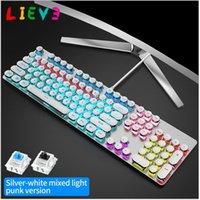 Keyboards Lieve Steampunk Steampunk Gaming Mecânica Teclado 104 Keysanti-Ghosting RGB Backlight Interruptor Wired para Desktop Portátil