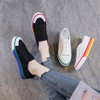 Bayan Kanvas Ayakkabılar 2019 Bahar Sonbahar Rahat Lace Up Siyah Sneakers Kadın Beyaz Ayakkabı Için Öğrenci Düz Sneakers Kadın Sneaker I84Z #