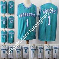 Werfen Zurück Männer 1 Tyrone Muggsy Buchues Hemd 2 Larry Johnson 30 Dell Curry Basketball Trikots 33 Alonzo Trauer 41 Glen Reis Weiß Blau