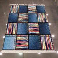 Else Blue Jeans Effect Tiles Patchwork Colored Line 3d Print Microfiber Anti Slip Back Washable Decorative Kilim Area Rug Carpet Carpets