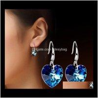 & Chandelier Delivery 2021 Blue Crystal Heart Shaped Dangle Earrings 925 Sier Long Drop Love Charm Earring Bridal Wedding Jewelry For Women A
