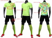 Custom Team Kids+Adult Green Blank Soccer Jersey Uniform Mens Women Sports Personalized Shirts with Shorts Printed Design Name and Number 19G