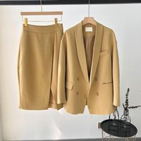 Two Piece Dress Fashion Button Up Skirts Women Suits Office Sets Elegant Suit Casual Blazer Long Sleeve Collared Set