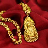 Kişiselleştirilmiş Erkek Altın benzeri Kolye Oğul Bakır Kaplama Altın Guanyin Buda Kolye Simülasyon Altın Çiçek Hattı Ejderha Başkanı Kolye Faktörü