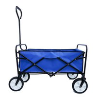 Outdoor jardim supplies handcart dobrável com titular de copo Praia Picnic Pesca supermercado de supermercado Compras multifuncionais carro azul carro azul