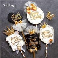 Stobag 10шт с днем рождения белый / черный бумаги украшения торта карты праздновать инструмент торт штамповка для выпечки пищевые принадлежности лук 210602