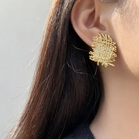 Vintage Geometric Braided Irregular Stud Earrings for Women Fashion Korea Gold Color Weave Metal Big Earring Jewelry Accessories