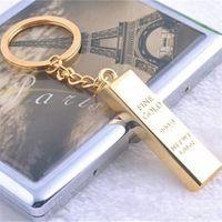 Моделирование Gold Bars Gold Brick Keychain Keyrings Key Rings Metal Gold Bullion Bag висит мода ювелирные изделия Christams подарок DFF1775