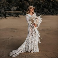 2021 Bohemian Lace Wedding Dress Long Sleeves V Neck Beach Bridal Gowns Plus Size Open Back African vestidos