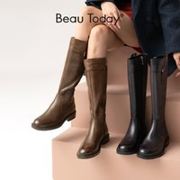 BeauToday Knee High Boots Women Cow Leather Long Booties Side Zip Metal Buckle Round Toe Fashion Female Shoes Handmade 01437 210429