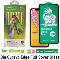 18D Airbag Soft Edge Full glue Cover Tempered Glass Screen Protector for iPhone 13 12 11 Pro Max XR XS X 6 7 8 Plus 3D Curved With Retail Package