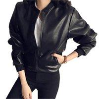 Женская Одежда 2021 Мода Дамы Зимние Осень Сплошные Цвета PU Кожаная Молния Slim Moto Biker Куртка ОДИН РАЗМЕЩЕНИЕ