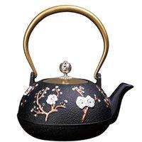 900 ml Vintage Dökme Demir Çaydanlık Japon Çiçek Çaydan Tetsubin Su Isıtıcısı Emaye Demlikler Metal Süzgeç Net Filtre ile