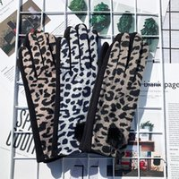 Five Fingers Gloves Winter Women Heated Warm Touch Screen Thin Fleece Leopard Patten With Faux Fur Ball Full Finger Lined Mittens