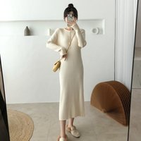 Casual Dresses Women's Knitted Dress Spring Autumn Chic Button Vertical Lines Bodycon Bottoming Sweater Pullover Elegant Slim Retro Vestidos