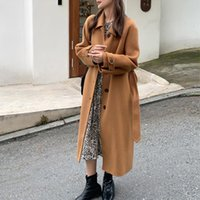 Women's Wool & Blends 100% Coat Women Autumn Korean Fashion Clothes Female Jackets Long Fouble-faced Woolen Coats Fall Trench Veste Femme WP