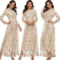 Ethnic Clothing Lace Floral Embroidery Women Long Dress Spring Summer Fashion Middle East Dubai Wedding Party Sweet Maxi Gown Muslim Islamic