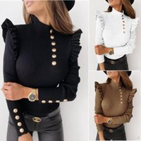 Women's T-Shirt Knit Women Pullover Ruffle Puff Sleeve Solid Color Jumpers Casual Bottom Coat High Neck Tops Female Clothes Fashion Sweater