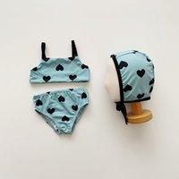 Baby tjejer två bitar baddräkter mode 2021 sommar barn kärlek hjärta print bikinis barn björn tryckt baddräkt uppsättning A7057
