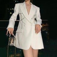 Женские костюмы Blazers Superaen Французский дизайн талии вышитые вспышки костюм костюм осень зимние полосы тонкий женский пиджак