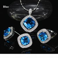 New Fashion Elegant White Gold Plated CZ Earrings Ring Necklace Jewelry Set for Bride 3 in 1 Wedding Necklace Set for Women