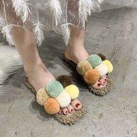 Sandal MAOMAO terlik kadın giyim moda için çok yönlü sevimli kuzu serin trol kırmızı yün top tembel ayakkabı