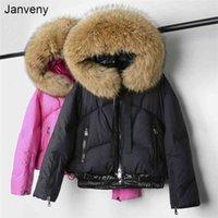 Janveny Real Raccoon Fur Hooded Women's Down Jacket Winter 90% Duck Down Coat Short Female Puffer Feather Parkas Outwear 210913