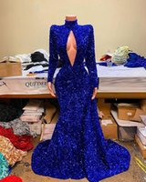 Sparkly Prom Dresses High Neck Long Sleeve Sexy Mermaid Royal Blue Sequined African Black Girls evening Gala Party Gowns
