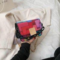 Saco de couro PU para mulheres costurando verão cores crossbody bolsas de ombro menina contraste bolsas e bolsas fwd6540