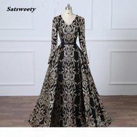 Glitter Black Sequined Evening Dress Removable Train Long Prom Dress Saudi Arabia Formal Gown Muslim Prom Dress