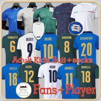 Hayranlar oyuncu versiyonu 2021 İtalya futbol formaları Insigne Renaissance 21 22 Futbol Gömlek Seti Chiellini Bonucci Bernardeschi Belotti Barella Erkekler Üniforma