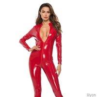 #2163 Faux Leather Jumpsuit Women Black Red Pink Open Crotch PU Leather Jumpsuit With Zipper Plus Size 3XL Pole Dance Rompers