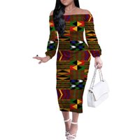 Casual Dresses HYCOOL Wholesale Fall Long Sleeve African Clothes For Women Elegant Lady Bodycon Dress Off Shoulder Sexy Maxi