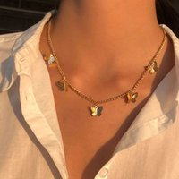 Amazon hot cross-border jewelry temperament butterfly necklace female fashion exquisite clavicle chain factory direct sales