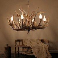 Chandeliers American Resin Candle Antler Chandelier Europe Deer Horn Lighting Fixtures,Vintage Kitchen For Bedrooms