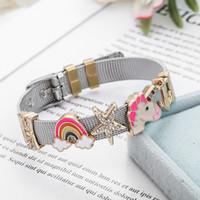 Nuevo diseño de joyería del corazón del arco iris unicornio, pulseras de mezcla de acero inoxidable, juego de pulsera de malla para mujeres regalo