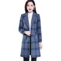 Women's Wool & Blends Autumn Winter Jacket Coat Fashion Plaid Mid Long Woolen Slim Plus Size Female Basic Outerwear AH666