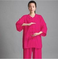여름 민속 무술 의류 Kungfu 의상 유니섹스 타이 티카 의류 탕 정장 kungfuu 유니폼 운동 의류 탑스
