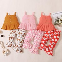 Clothing Sets Summer Baby Girls Clothes Toddler Sleeveless Solid Suspenders Tops+Floral Flare Pants Outfits Set Kids