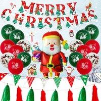 جديد اللوازم حفلة عيد الميلاد زينة سانتا كلوز بالون مجموعات نفخ البالونات اللاتكس مجموعة راية ورقة راية