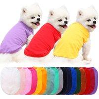 Hund Home Gardendog Bekleidung Große Hunde Kleidung Weiße leere Welpen Shirts Feste Farbe Kleines T-Shirt Baumwolle Outwear Pet Supplies 9 Farben Tropfen
