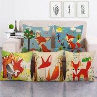 45 cm * 45 cm Kırmızı Karikatür Fox Keten / Pamuk Atmak Yastık Kapakları Kanepe Yastık Kapak Ev Dekor Yastık