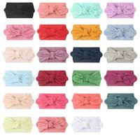 Baby Turban Girls Headbands Bows Stretchy Nylon Hairbands for Newborn Infant Toddler Pure Color Hair Accessories
